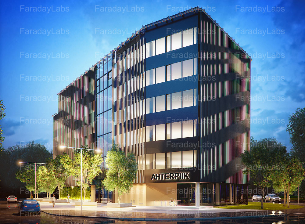 3d render of an office building in tallinn 3d house building
