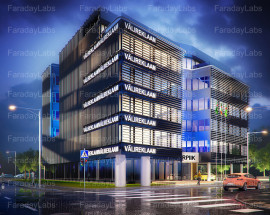 faraday 3d exterior night office building