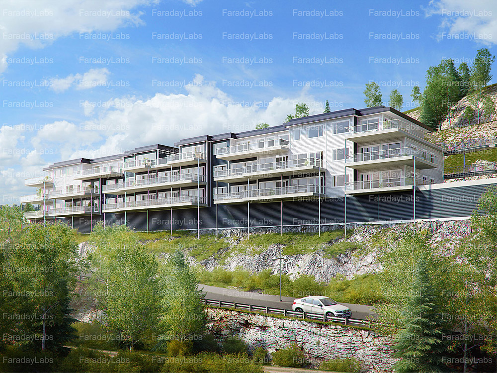 Architectural landscape rendering for Architektur renderings