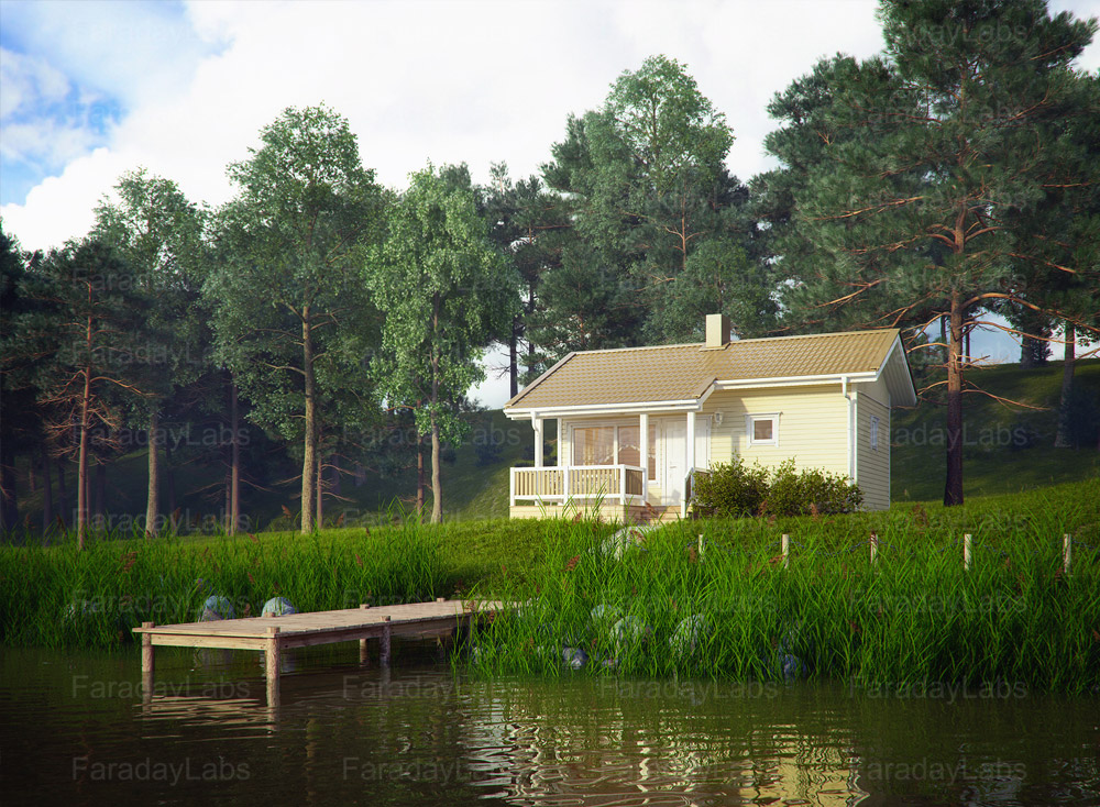 Exterior: Exterior Rendering Of A Modular Small House