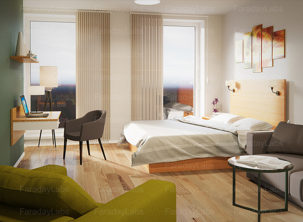 3d room drawing made for go hotels company 3d room