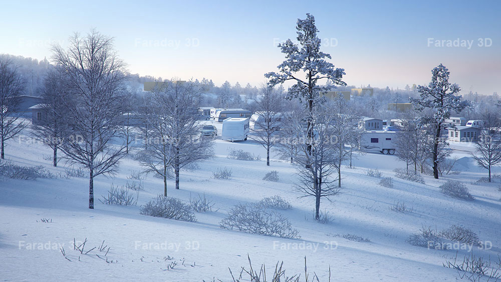 Winter Landscape high quality 3D rendering