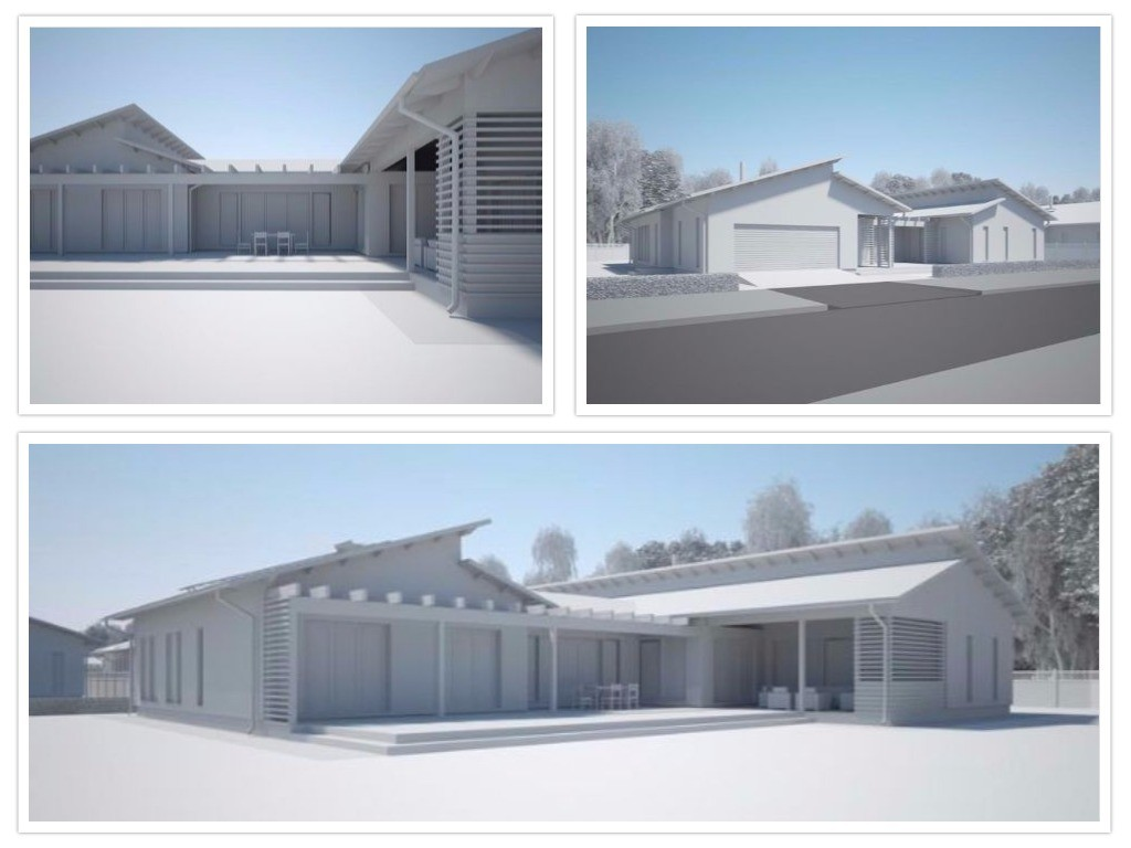 3d exterior rendering in clay