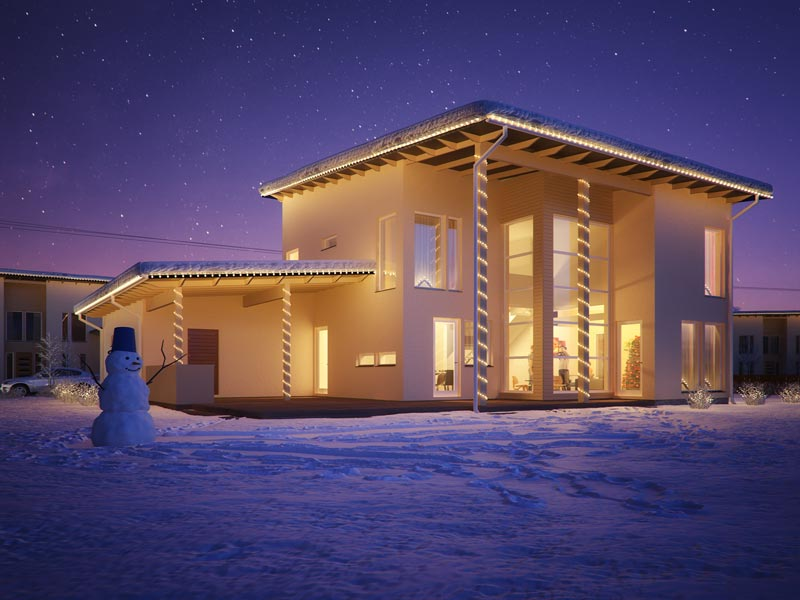 3D architectural rendering of a house at night time